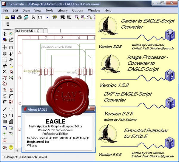CadSoft EAGLE v5.7.0 incl. PCB Power Tools v5.0.6