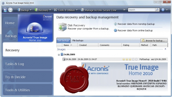 Acronis True Image Home 2010 SUITE v13.0.7046