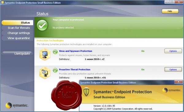 Symantec Endpoint Protection Small Business Edition 2010 v12.0.1001.95