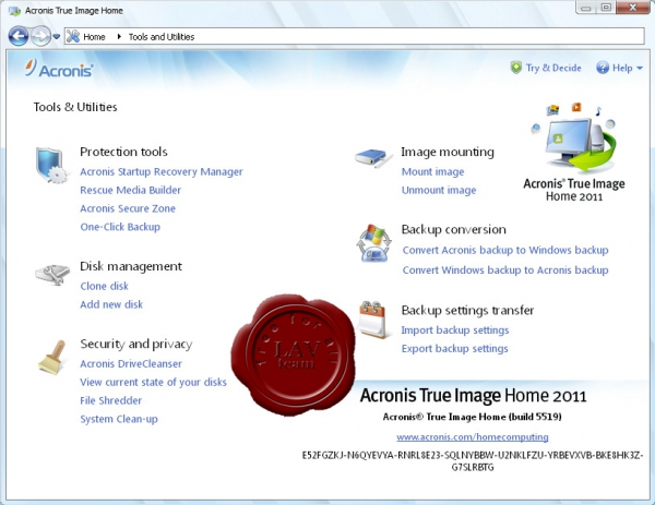 Acronis True Image Home 2011 SUITE v14.0.0.5519