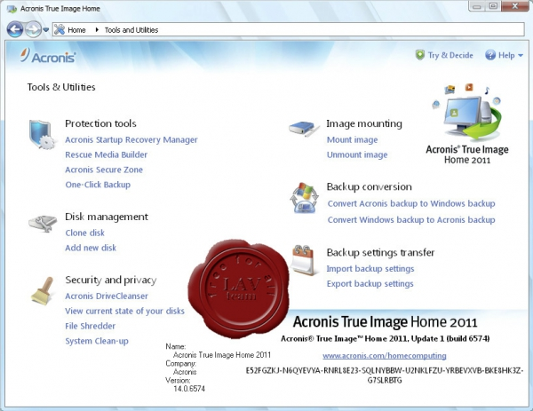 Acronis True Image Home 2011 v14.0.6574 (update 1)