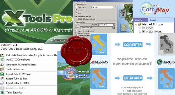 Data East Utils for ArcGIS Desktop: XTools Pro v7.1, Tab Reader v4.0, Carry Map v2.3
