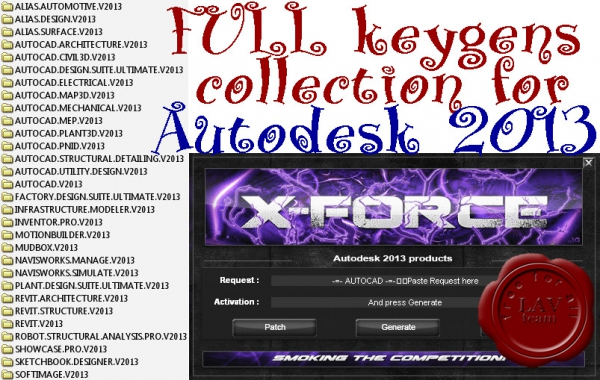 FULL x-Force keygens collection for Autodesk products v2013