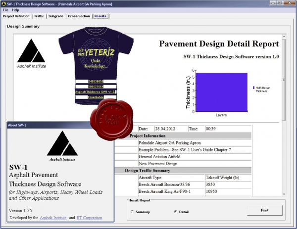 Asphalt Pavement Thickness Design Software SW1 v1.0.5