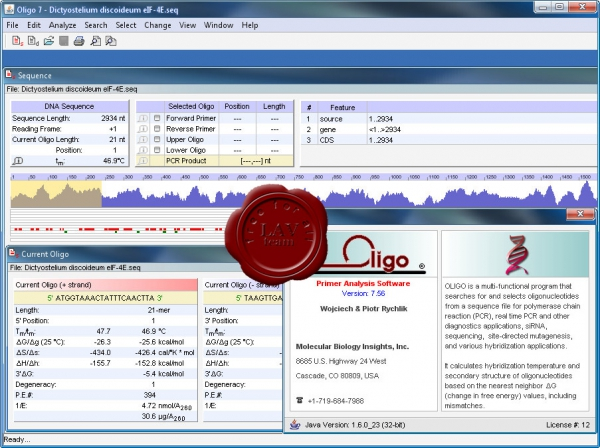 Molecular Biology Insights Oligo v7.56