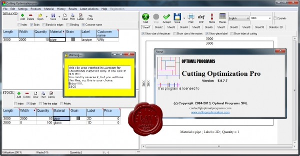 Optimal Programs Cutting Optimization Pro v5.9.7.7