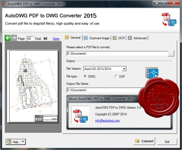AutoDWG PDF to DWG Converter 2015 v3.4
