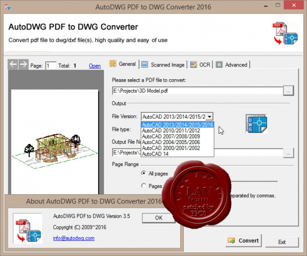 AutoDWG PDF to DWG Converter 2016 v3.5