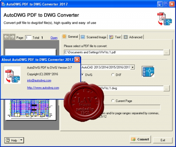 AutoDWG PDF to DWG Converter 2017 v3.7