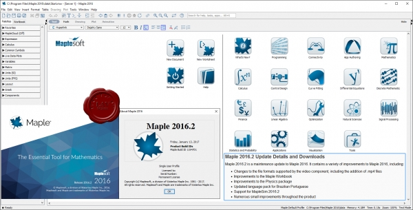Waterloo Maplesoft Maple 2016.2 build 1194701