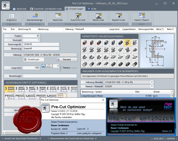 Steffen Rigy RIGOTECH Pre-Cut Optimizer v2.0.88