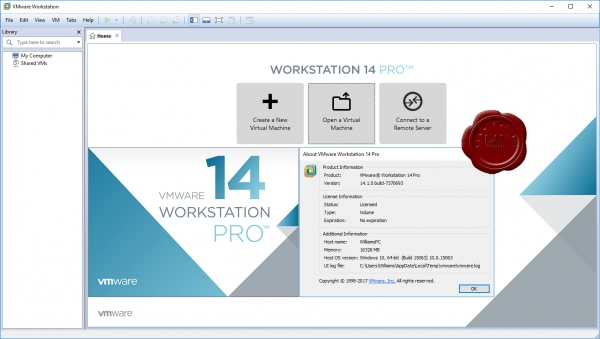 VMware Workstation Pro v14.1.0.7370693