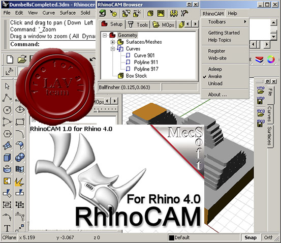 MecSoft RhinoCAM v1.0 for Rhinoceros v4.0