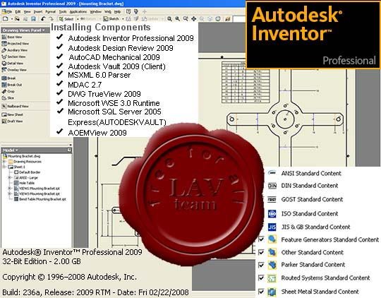 Autodesk Inventor Pro 2009 build 236a ISO (4 DVD) x86+x64