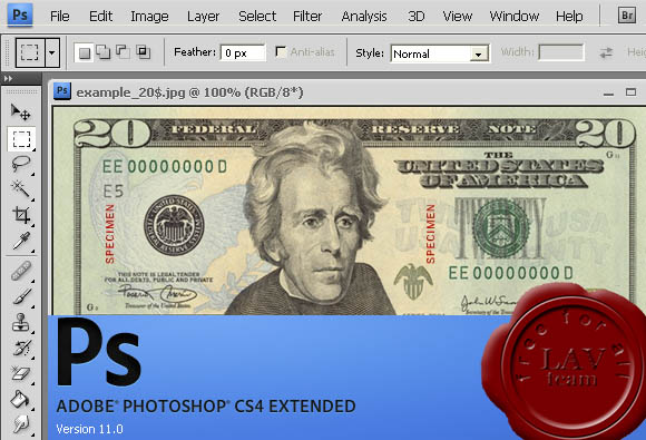Adobe Photoshop CS4 v11.0 Banknote Protection Removal